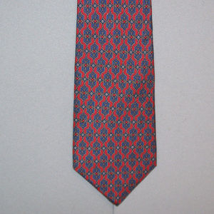 Christian Dior Red Navy with Dots Silk Neck Tie